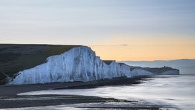 Beautiful dawn landscape of Seven Sisters cliffs landmark on Eng Royalty Free Stock Photo