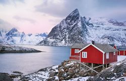 Beautiful sunrise landscape with traditional Norwegian fishing huts in the Lofoten islands, Norway stock images