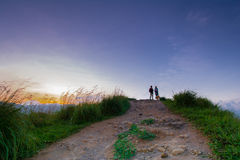 Beautiful sunrise at little Adams peak in Ella, Sri Lanka. Ella is a great location for viewing some of the best natural scenery in Sri Lanka royalty free stock image