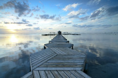 Beautiful Sunrise in Mar Menor with a dock Royalty Free Stock Photography