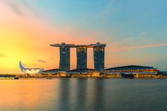 Beautiful sunrise in Marina bay at Singapore Royalty Free Stock Photography