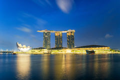 Beautiful sunrise in Marina bay at Singapore Royalty Free Stock Photo