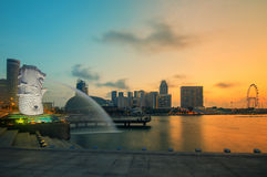 Beautiful sunrise in Marina bay at Singapore Stock Image