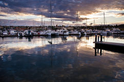 Beautiful sunrise at the Marina. Mindarie marina Perth Western Australia Stock Image