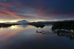 Beautiful sunrise at Mengkabong river, Sabah, Malaysia Stock Photo