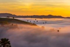 Beautiful Sunrise and the mist at Khao Kho, Phetchabun Province, Thailand. royalty free stock photo