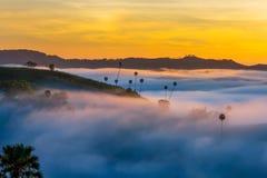 Beautiful Sunrise and the mist at Khao Kho, Phetchabun Province, Thailand. stock images