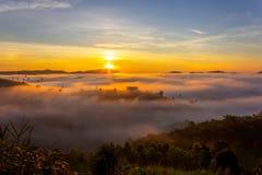 Beautiful Sunrise and the mist at Khao Kho, Phetchabun Province, Thailand. royalty free stock photos