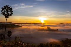 Beautiful Sunrise and the mist at Khao Kho, Phetchabun Province, Thailand. royalty free stock images