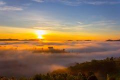 Beautiful Sunrise and the mist at Khao Kho, Phetchabun Province, Thailand. stock image