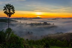 Beautiful Sunrise and the mist at Khao Kho, Phetchabun Province, Thailand. stock photo