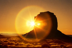 Famous sunrise at Monument Valley Stock Image