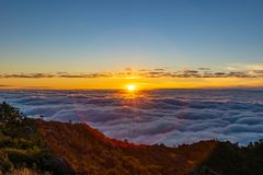 Beautiful Sunrise in the morning at Doi Luang Chiang Dao stock image