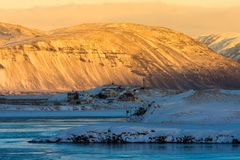 Beautiful of sunrise morning in land of Iceland winter Royalty Free Stock Photography