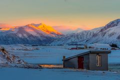 Beautiful of sunrise morning in land of Iceland winter Stock Photos