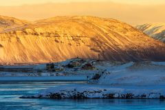 Beautiful of sunrise morning in land of Iceland winter Stock Photo
