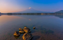 Sunrise at mount Fuji with reflection on lake kawaguchiko. Beautiful sunrise at mount Fuji with reflection on lake kawaguchiko in Yamanashi, Japan stock images