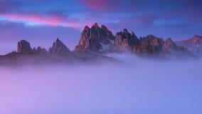 Beautiful sunrise on the mountain Cadini Di Misurina Stock Photos