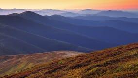 Beautiful sunrise on the mountaines Stock Image