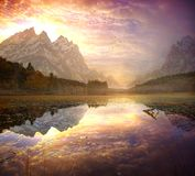 Beautiful sunrise in the mountains Stock Images