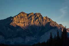 Beautiful sunrise in the mountains. The beautiful Canadian mountains in the sunrise hour. Banff, Alberta, Canada Royalty Free Stock Image
