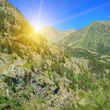 Beautiful sunrise in mountains Stock Photo
