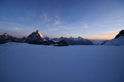 Beautiful sunrise in the mountains. Beautiful view of the Mattherhorn at sunrise Stock Photos