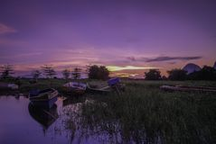 Beautiful sunrise near the Timah Tasoh Lake early in the morning. At Perlis Malaysia stock images