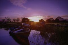 Beautiful sunrise near the Timah Tasoh Lake early in the morning. At Perlis Malaysia stock photography