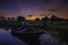 Beautiful sunrise near the Timah Tasoh Lake early in the morning. At Perlis Malaysia stock photo