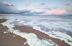 Beautiful sunrise on North sea coast. Netherlands Royalty Free Stock Image