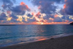 Beautiful sunrise at oahu beach Royalty Free Stock Photo