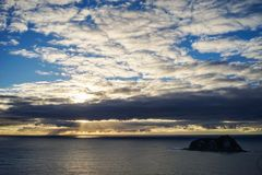 Beautiful sunrise on the ocean. In North Island of New Zealand Stock Images
