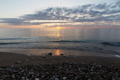 A beautiful sunrise on the ocean in summer. Royalty Free Stock Image