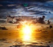 Beautiful sunrise. Beautiful orange sunrise in the Indian Ocean Stock Image