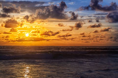 Beautiful sunrise. With orange sk in the Indian Ocean Royalty Free Stock Photos