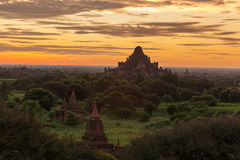 Beautiful sunrise over the ancient pagodas in Bagan Royalty Free Stock Image