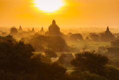 Beautiful sunrise over the ancient pagodas in Bagan Stock Photos