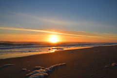 Beautiful sunrise over Atlantic Ocean. Corolla. Sum reflected in the water. Copy Space. Corolla,,Outer Banks, North Carolina Stock Image