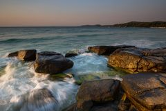Beautiful sunrise over the beach royalty free stock image