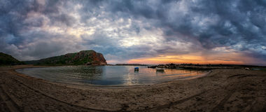 Beautiful sunrise over the Black Sea bay Bolata - panoramic view. Copy space Royalty Free Stock Photos