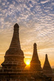 Beautiful sunrise over the buddhist pagodas in Bagan Stock Images