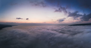Beautiful sunrise over the clouds, aerial view Stock Image