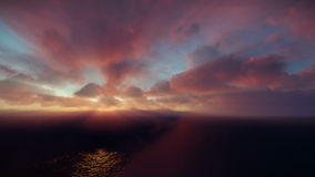Beautiful sunrise over clouds and ocean, godrays vector illustration