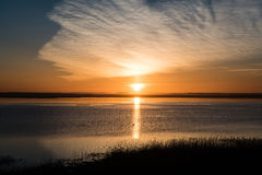 Beautiful sunrise over country lake Royalty Free Stock Photos