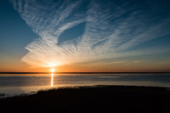 Beautiful sunrise over country lake Stock Images