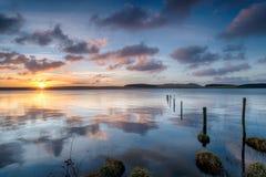 Beautiful Sunrise over Crowdy Reservoir Royalty Free Stock Photo