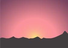 Beautiful sunrise over the dark mountains Royalty Free Stock Image