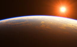 Beautiful Sunrise Over The Earth. 3D Illustration Royalty Free Stock Image