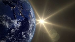 Beautiful Sunrise Over The Earth. Transition from night to day. v.4.